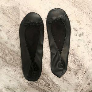 Shoes - NWOT Black Roll-Up Ballet Flats
